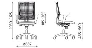 Biuro kėdė @-MOTION R išmatavimai